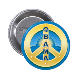 Obama GoldStar Peace Button, round on blue Button