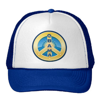Obama GoldStar Peace Hat, White and Royal Blue Trucker Hat