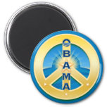Obama GoldStar Peace  Magnet, round on blue 2 Inch Round Magnet