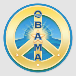 Obama GoldStar Peace Stickers, on blue Classic Round Sticker
