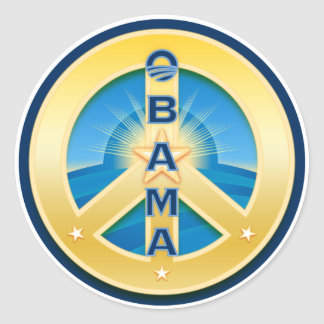 Obama GoldStar Peace Stickers, on white