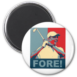 Obama Golfing FORE! 2 Inch Round Magnet
