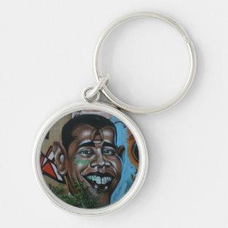 Obama Graffiti Silver-Colored Round Keychain
