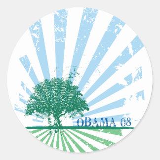 Obama Green Classic Round Sticker