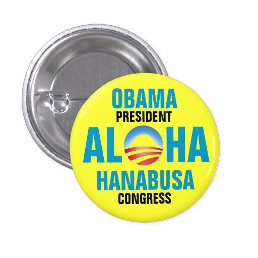 OBAMA/HANABUSA 2012 PIN REDONDO 2,5 CM