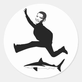 Obama has jumped the shark round sticker