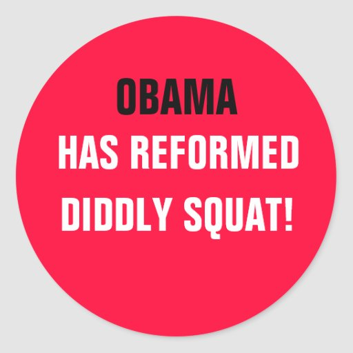 OBAMA HAS REFORMED DIDDLY SQUAT! ROUND STICKERS