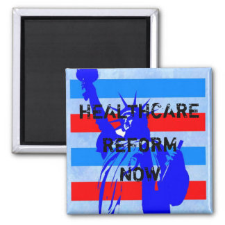 OBAMA HEALTHCARE  REFORM NOW 2 INCH SQUARE MAGNET