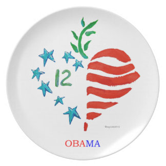 Obama heart poster plate