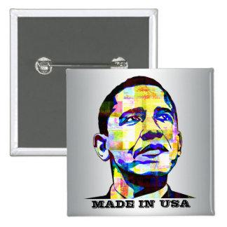 Obama - hecho en botón de los E.E.U.U.