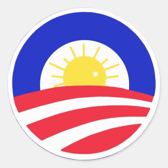 Obama Here Comes the Sun Classic Round Sticker