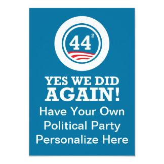 """Obama - hicimos sí OTRA VEZ Invitación 5"""" X 7"""""""