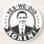 Obama hicimos sí otra vez V1 BW Posavasos Cerveza