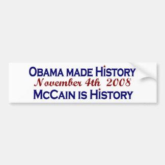Obama hizo la historia 2008 etiqueta de parachoque