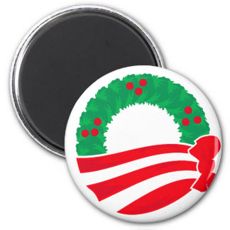 Obama Holiday Wreath Fridge Magnet