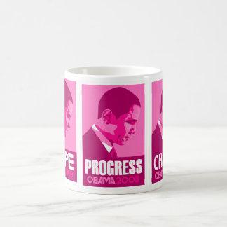 Obama - Hope, Progress, Change Dark Pink Mug