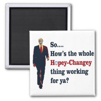 Obama  Hopey Changey 2 Inch Square Magnet