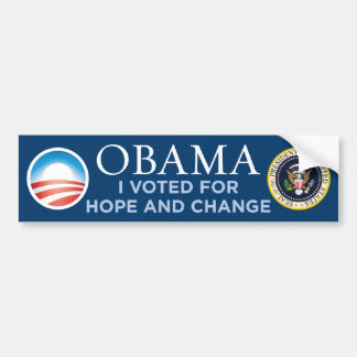 Obama - I Voted For Hope & Change Bumper Sticker