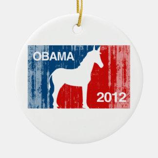 Obama Icon Pro Double-Sided Ceramic Round Christmas Ornament