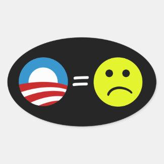 Obama iguala a los pegatinas de los ceños pegatina ovalada