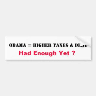Obama = impuestos más altos y deuda pegatina para auto