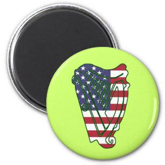 Obama In Offaly US Flag On Irish Harp Magnet
