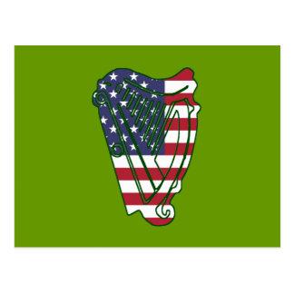 Obama In Offaly US Flag On Irish Harp Postcard