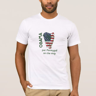 Obama In Offaly US Flag On Irish Harp T Shirt