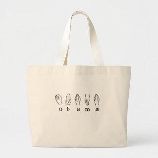 obama In sign Language Large Tote Bag