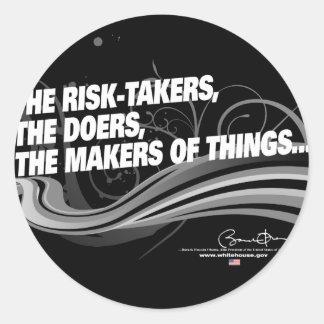 Obama Inaugural Address 'Risk Takers' Classic Round Sticker