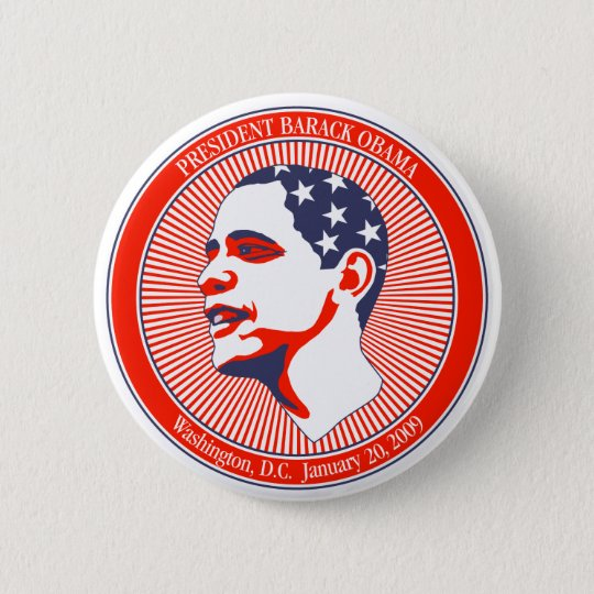 Obama  Inauguration in Red White and Blue Button