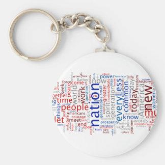 Obama Inauguration Speech Tagcloud Basic Round Button Keychain