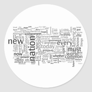 Obama Inauguration Speech Tagcloud Sticker