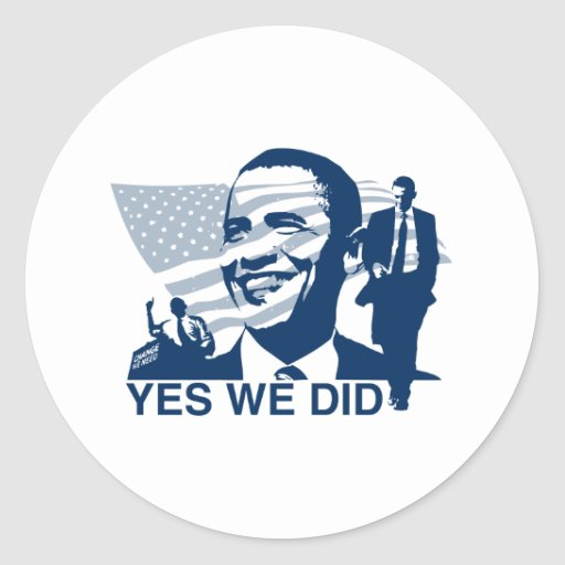 Obama Inauguration Yes We Did Classic Round Sticker