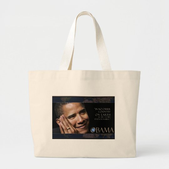 Obama Inspirational Quote Large Tote Bag