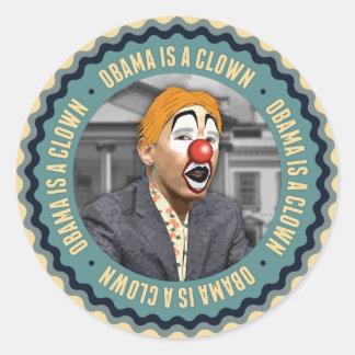 Obama Is A Clown Classic Round Sticker