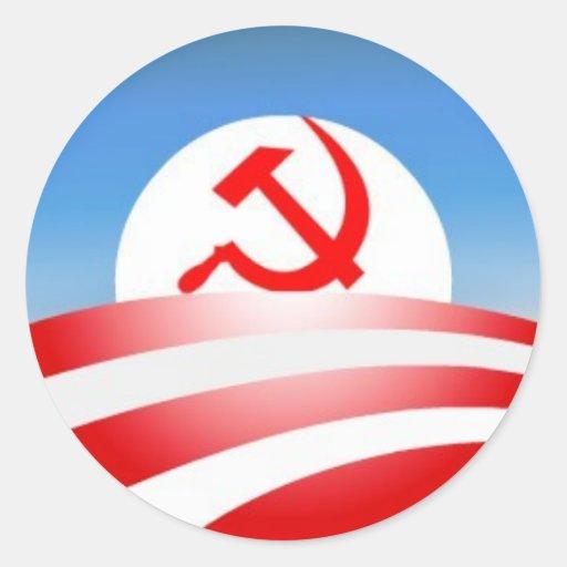 Obama is a communist round stickers