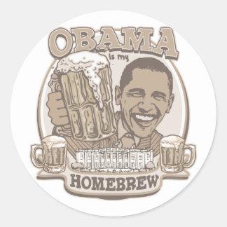 Obama is My HomeBrew by Buttonzup Round Stickers