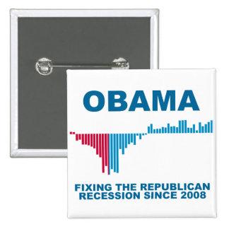 Obama Job Growth Graph 2 Inch Square Button