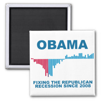 Obama Job Growth Graph 2 Inch Square Magnet