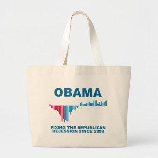 Obama Job Growth Graph Large Tote Bag
