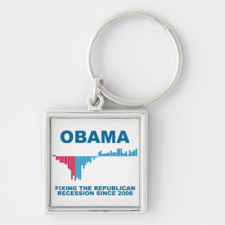 Obama Job Growth Graph Silver-Colored Square Keychain