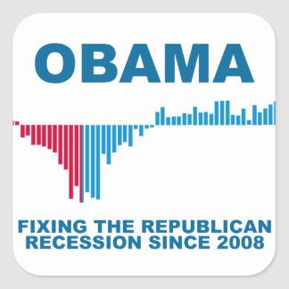 Obama Job Growth Graph Square Sticker