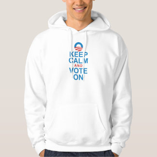 OBAMA KEEP CALM AND VOTE ON HOODED PULLOVER