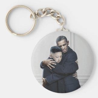 Obama Kim Jong Un North Korea Love Keychain