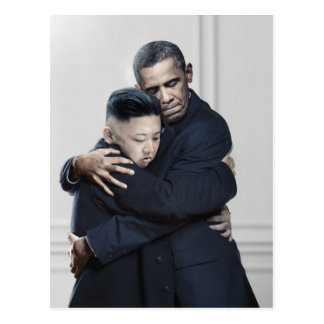 Obama Kim Jong Un North Korea Love Postcard