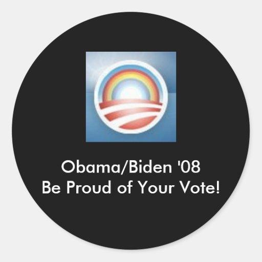Obama LBGT orgulloso… Pegatina Redonda