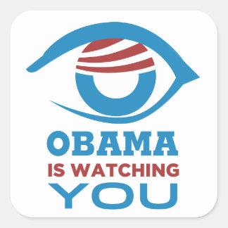 Obama LE ESTÁ MIRANDO PRISMA del ojo de Obama Calcomania Cuadradas Personalizada