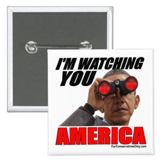 Obama - le estoy mirando América Pin Cuadrada 5 Cm