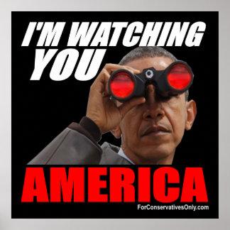 Obama - le estoy mirando América Póster